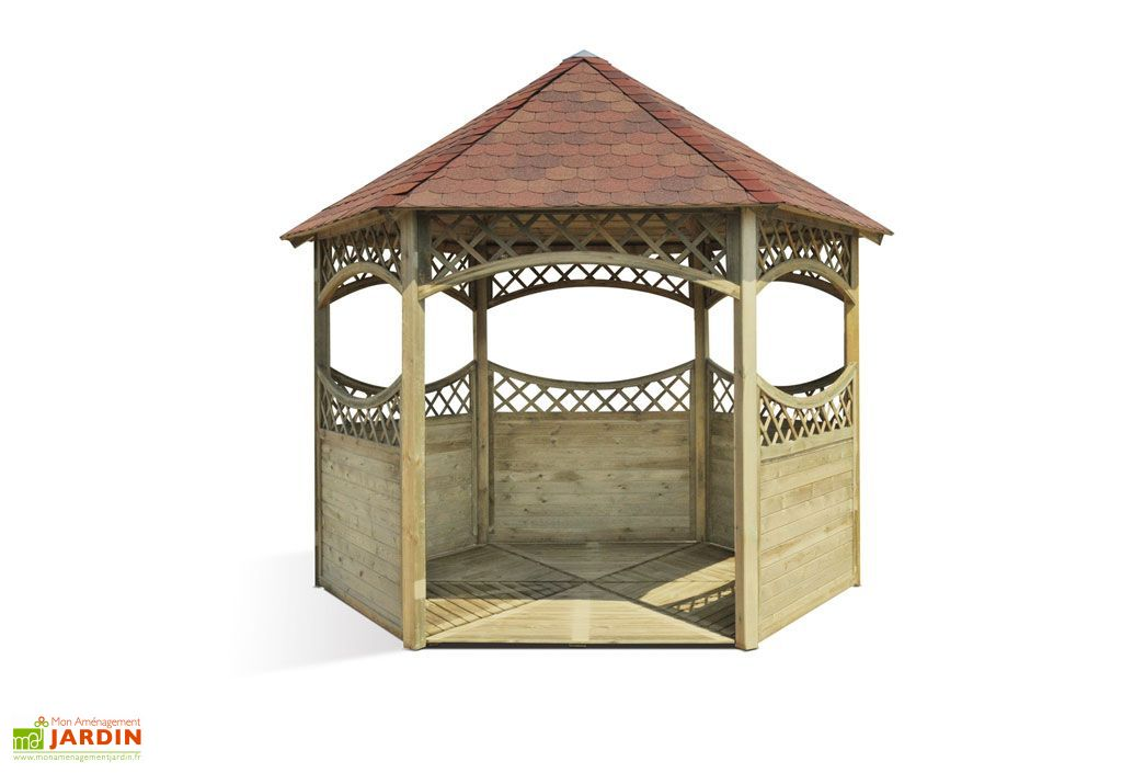 Kiosque bois bubanii kiosque toiture bardeau rouge for Kiosque exterieur