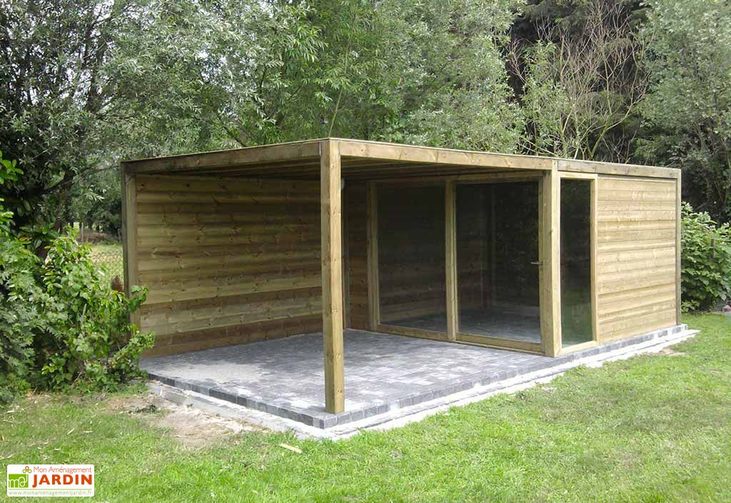 Abri de jardin bois exterior 350x350x230 gardival for Abri de jardin ouvert