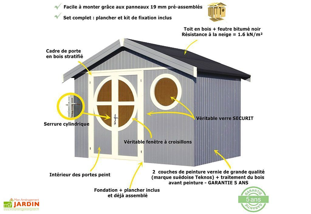Abri de Jardin Bois Design 19 mm Oléron 313x234x264cm