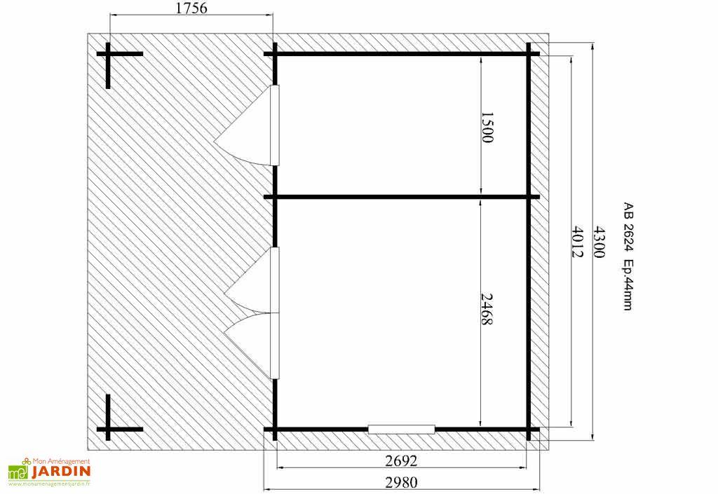 Abri de Jardin Bois Malaia (430x474x263) 43mm