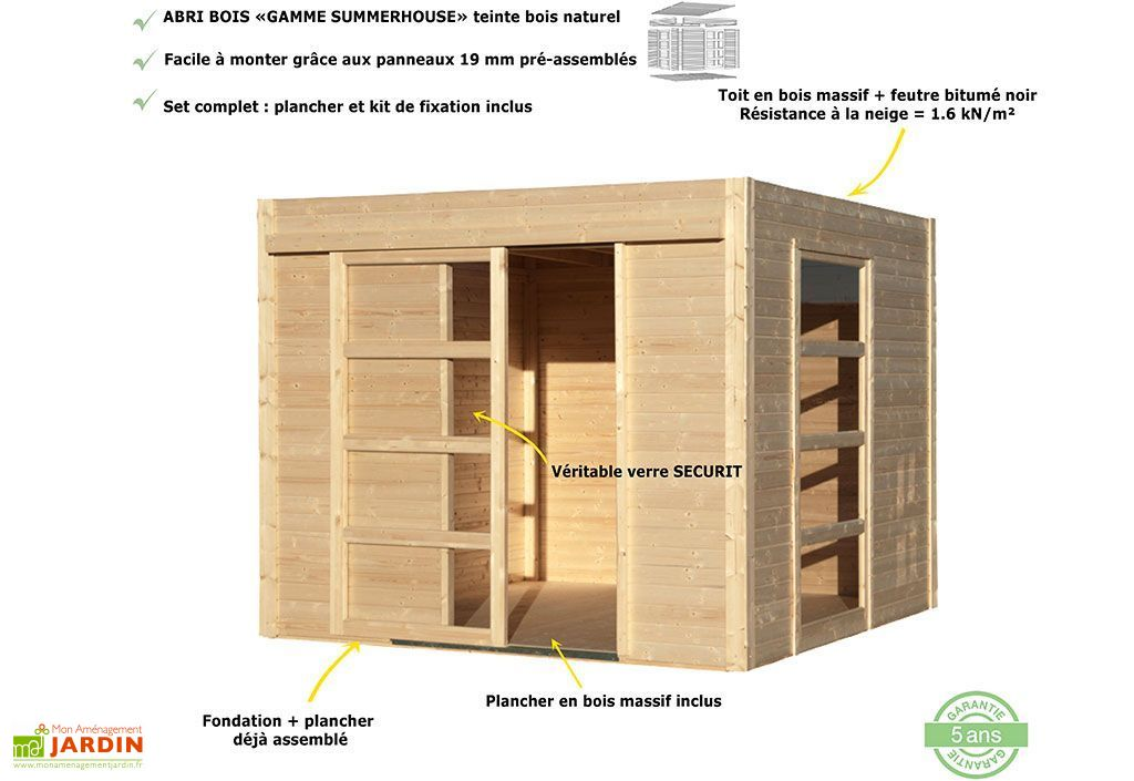 Abri de Jardin Bois Design 19mm Cosy 264x256x223cm