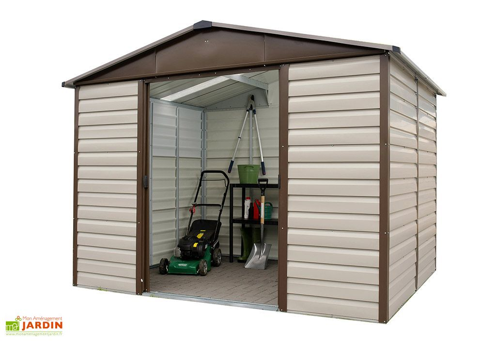 abri de jardin acier galvanis taupe marron 376 x 303 cm 11 39 m yardmaster. Black Bedroom Furniture Sets. Home Design Ideas