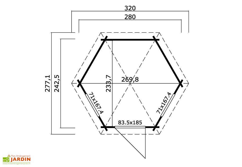 Abri de Jardin Hexagonal en Bois Margaret 44 mm – 242 x 280 cm