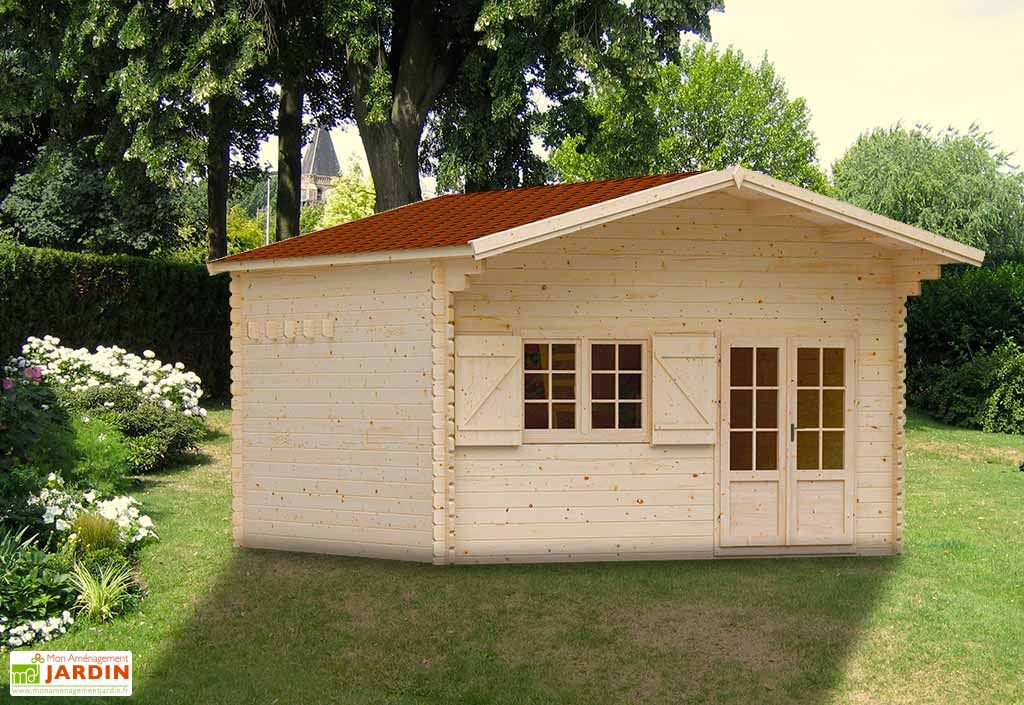 abri de jardin en bois jasmin 44 mm mezzanine 470x470cm madeira. Black Bedroom Furniture Sets. Home Design Ideas