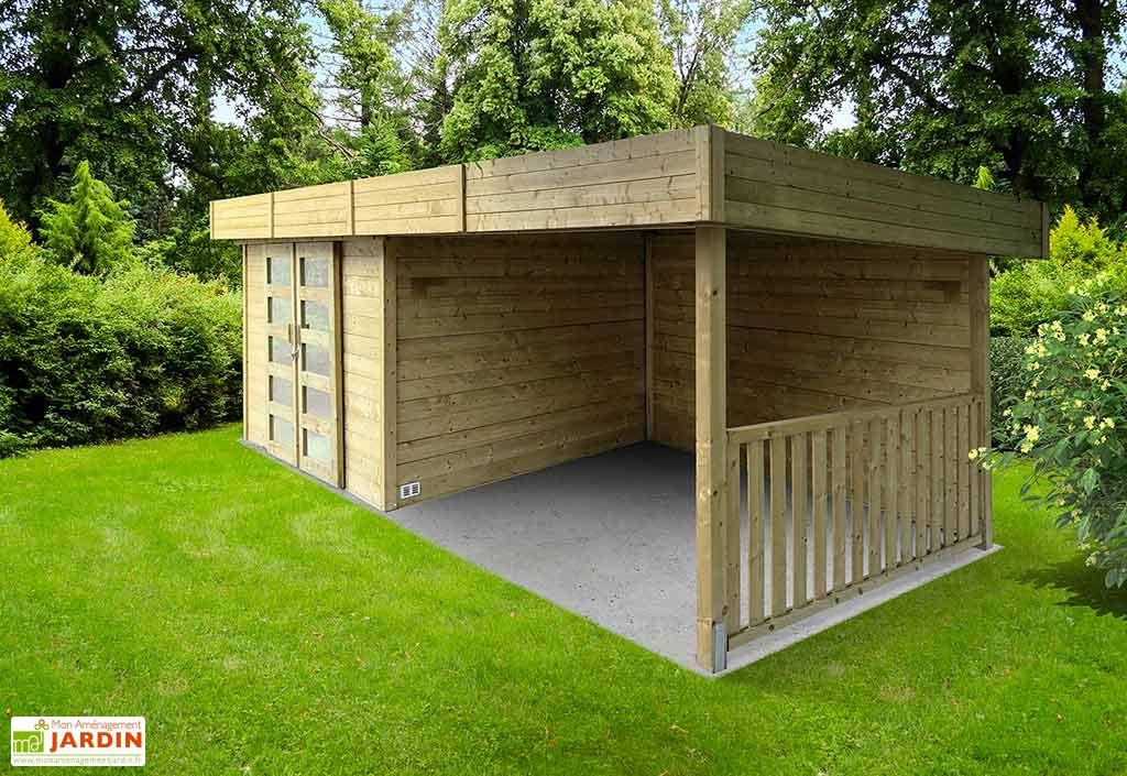 abri de jardin en bois toit plat + terrasse couverte 6,5 x 2,4 m