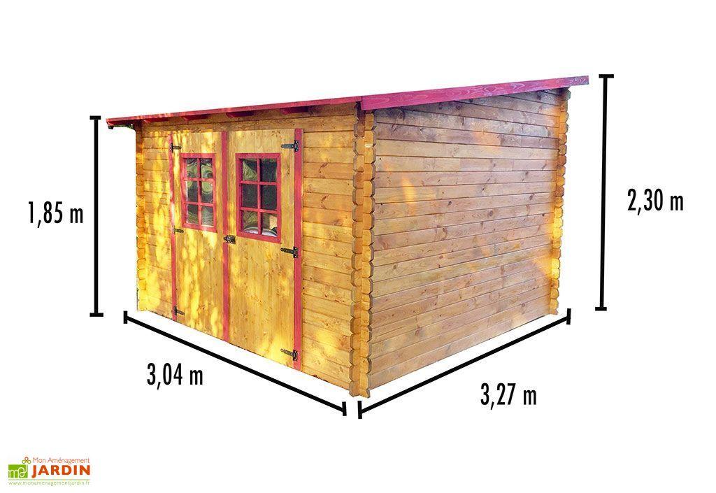 Abri de jardin en bois avec toiture 1 pente 300x300cm sens au choix habrita - Plan abri de jardin 1 pente ...