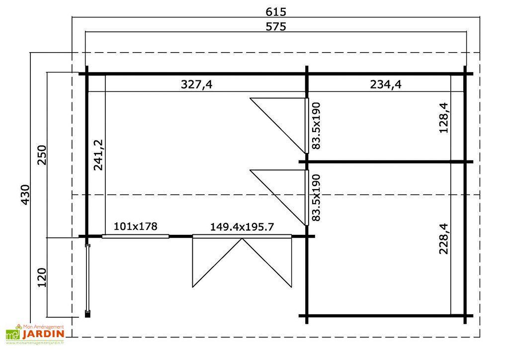 plan du bungalow en bois Roma
