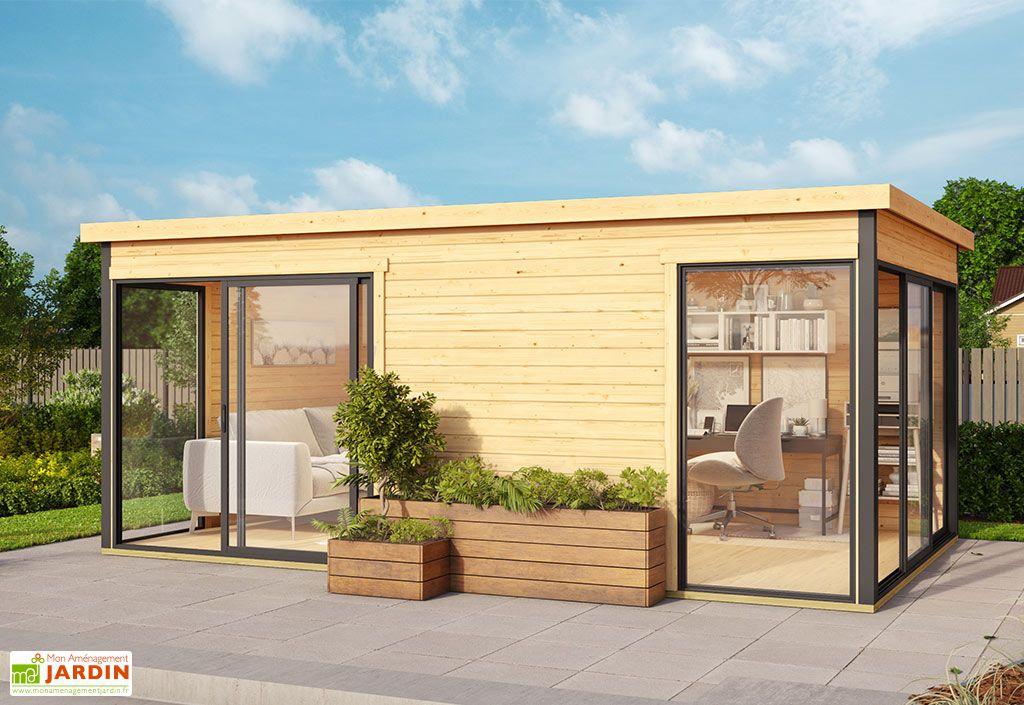 Bureau de jardin habitable en bois et double vitrage Domeo 3+ Lasita