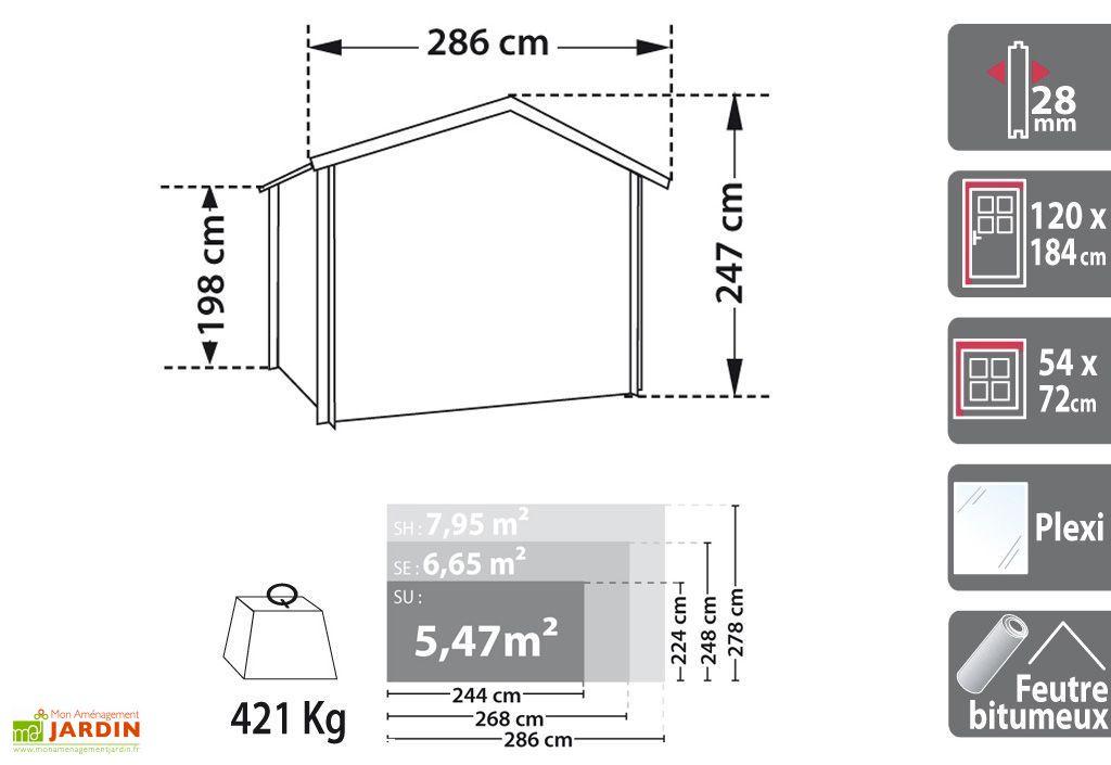 Abri de Jardin Bois Luby 28mm (268x248cm)