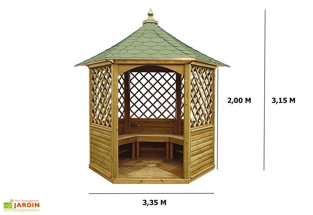 Pavillon Hexagonal Élégant avec Shingle Vert