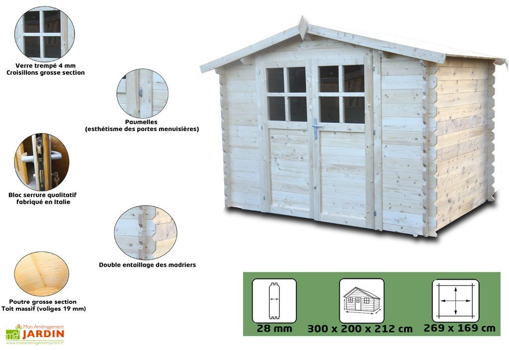 Abri de Jardin en Bois Azur Sapin 3x2m 28mm 6m²