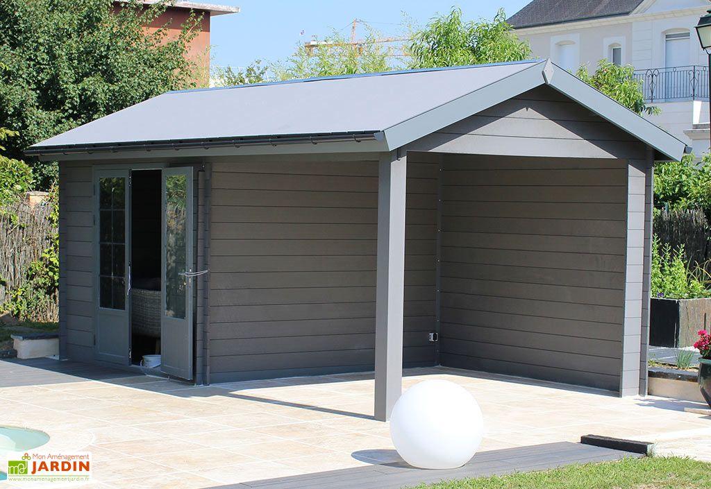 Abri de jardin composite toit double pente + auvent Tradi 6 x 3 m Green Outside