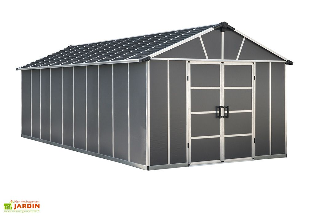 abri de jardin gris en polycarbonate Yukon de Palram 20 m²