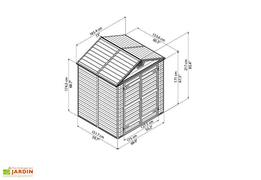 dimensions de l'abri de jardin en résine skylight 6 x 5 palram