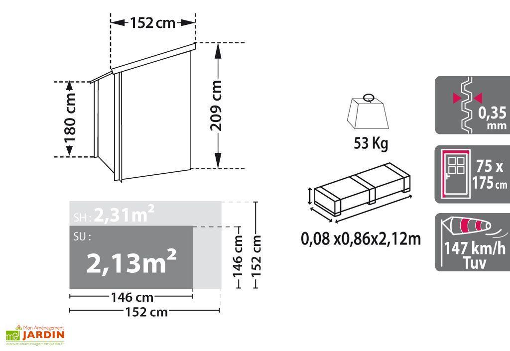 Abri de Jardin en Métal Zincalume 0,35 mm Lofty (152x152cm)
