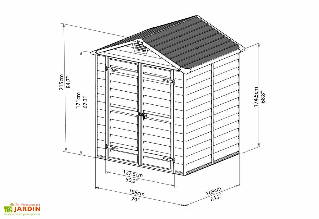 Abri de Jardin Polycarbonate Skylight Palram Gris (1,53x1,85) 2,83 m²