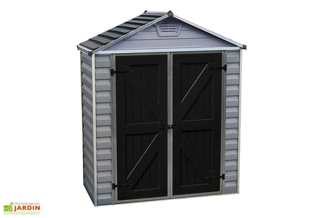 abri de jardin design en polycarbonate gris double porte avec toiture skylight
