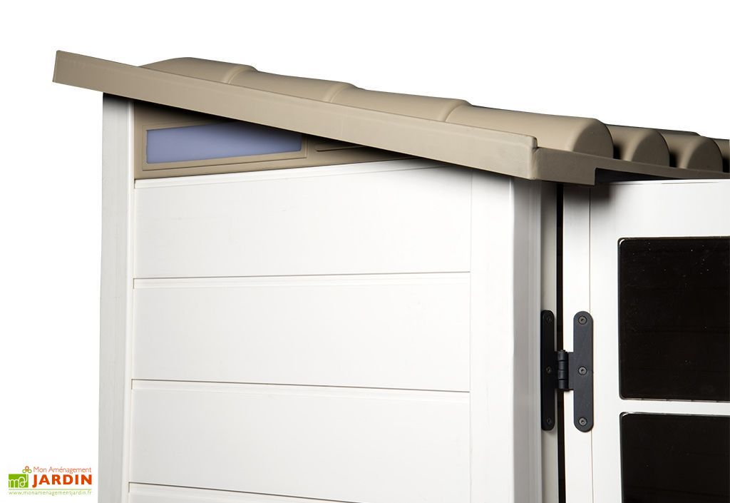 abri de jardin mural en pvc evo 100 beige 82x122cm habrita. Black Bedroom Furniture Sets. Home Design Ideas