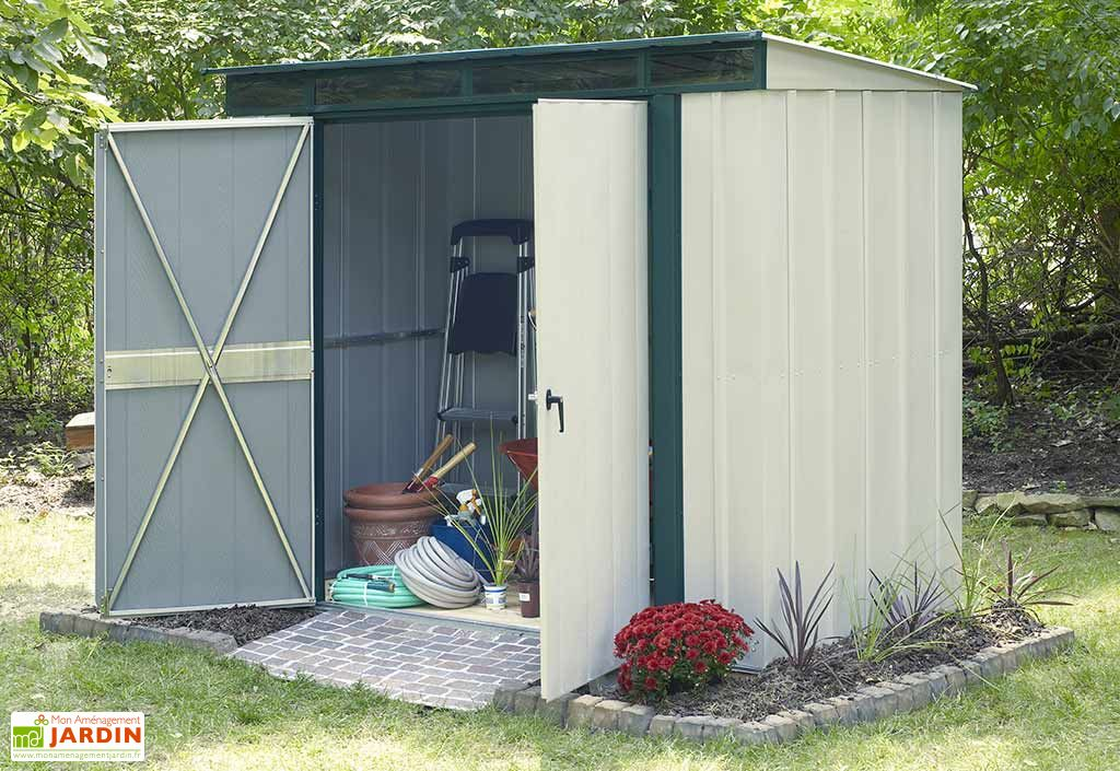 abri de jardin m tal luxe monopente chal t jardin. Black Bedroom Furniture Sets. Home Design Ideas