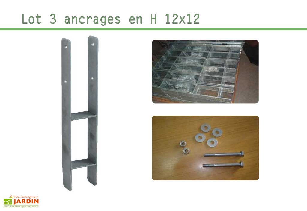 Kit Ancrage en H 3 supports 12x12