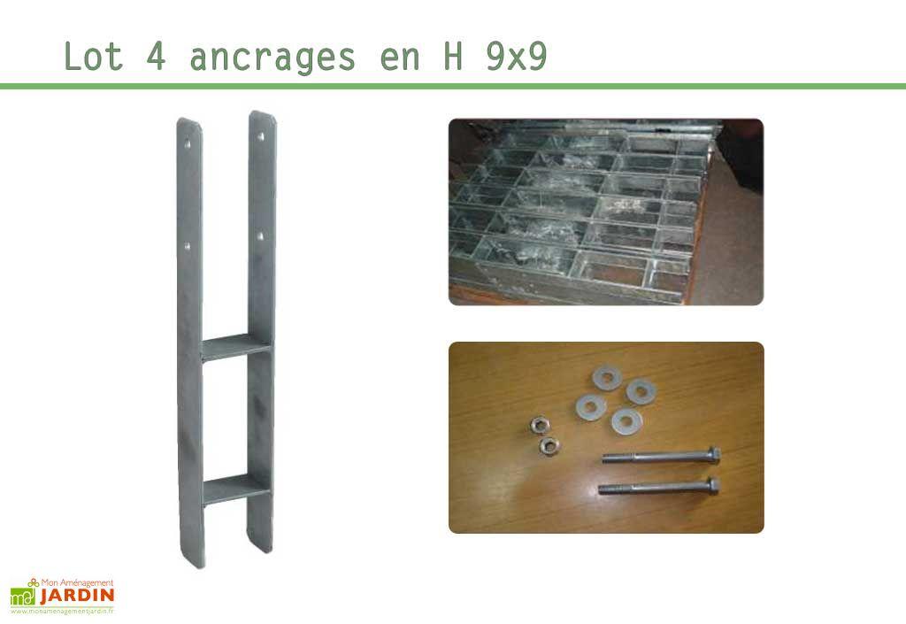 Kit Ancrage en H 4 supports 9x9