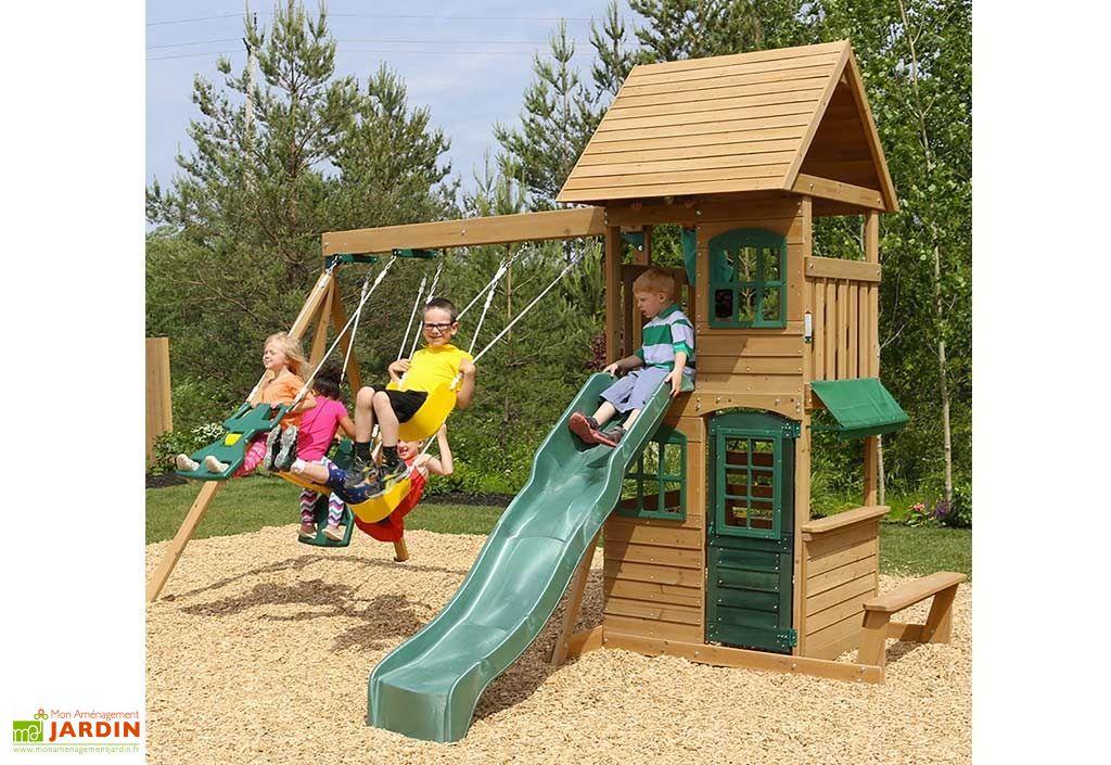 aire de jeux en bois windale avec toboggan balan oires et cabane kidkraft. Black Bedroom Furniture Sets. Home Design Ideas