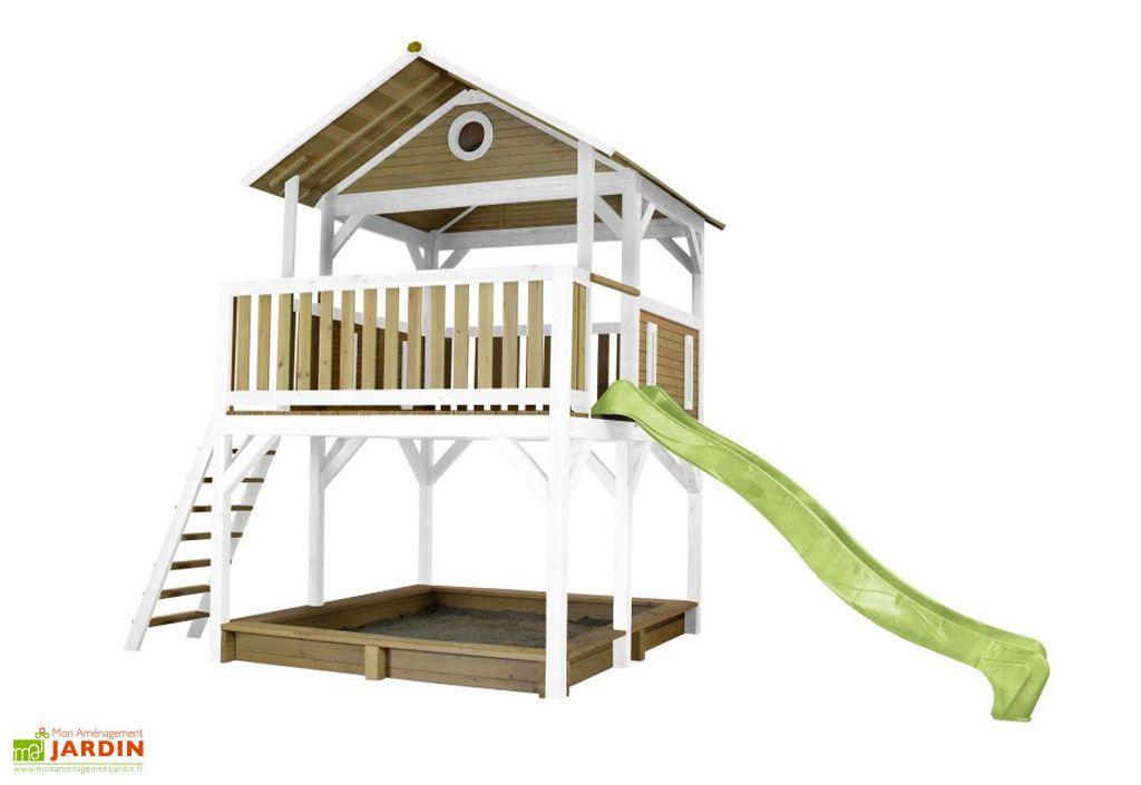 cabane enfant en hemlock toboggan vert citron Axi
