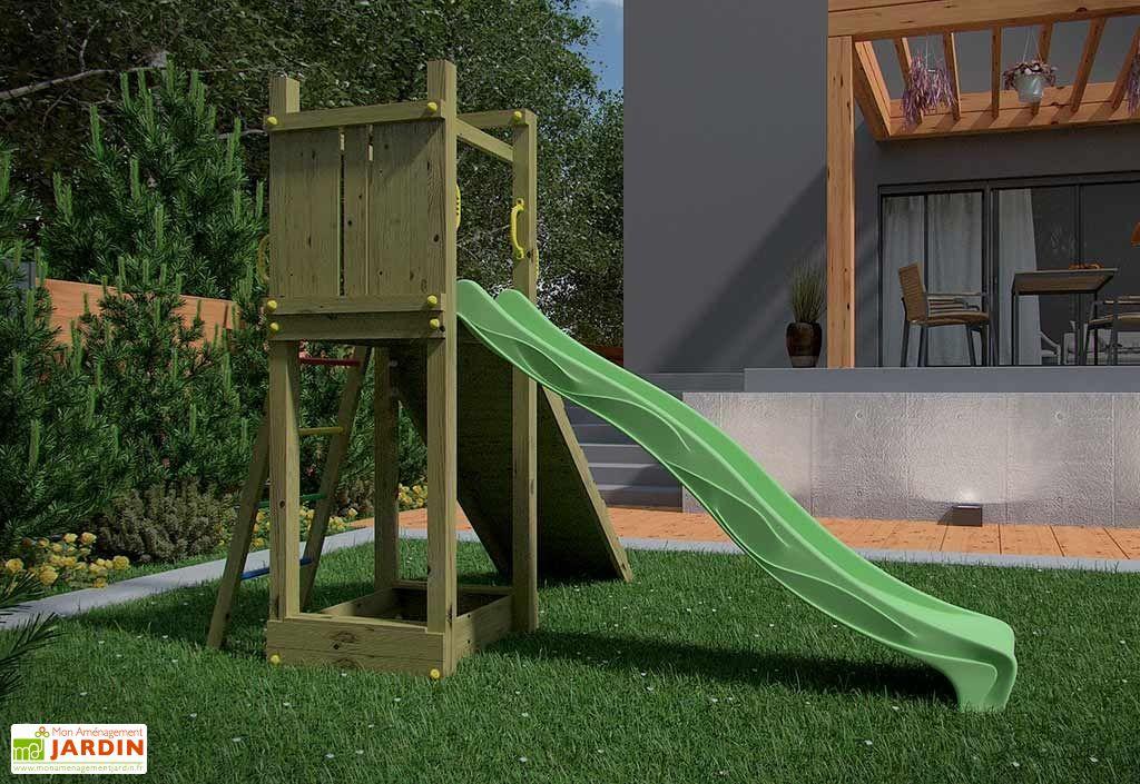 aire de jeux funny 3 toboggan rampe bac sable fungoo. Black Bedroom Furniture Sets. Home Design Ideas