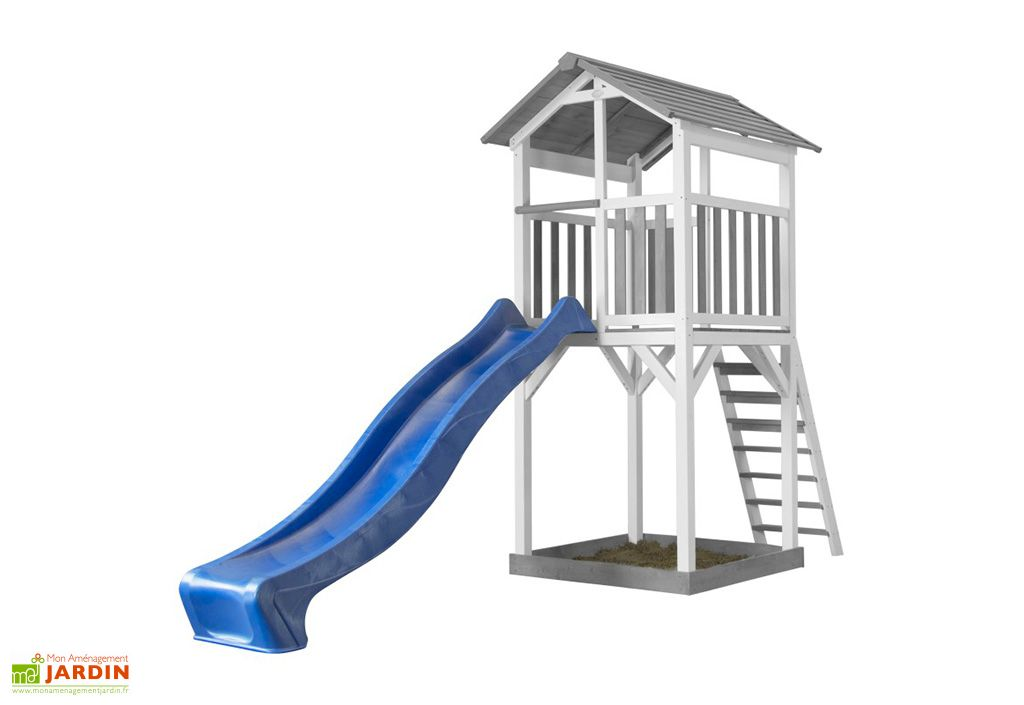 Aire de Jeux de Jardin en Bois de Hemlock avec Toboggan Bleu Axi Beach Tower
