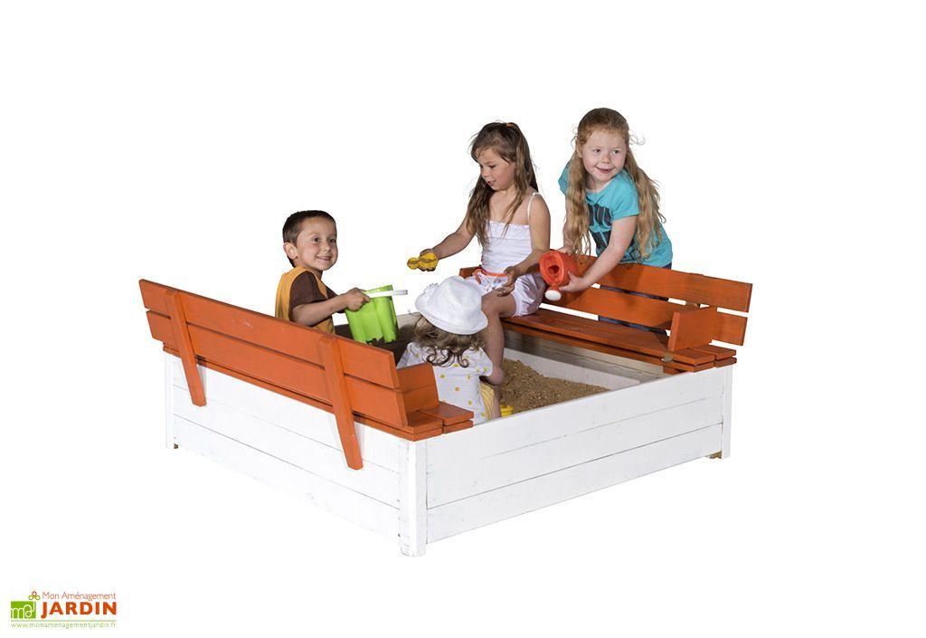 bac sable avec bancs rabattables en bois amca. Black Bedroom Furniture Sets. Home Design Ideas