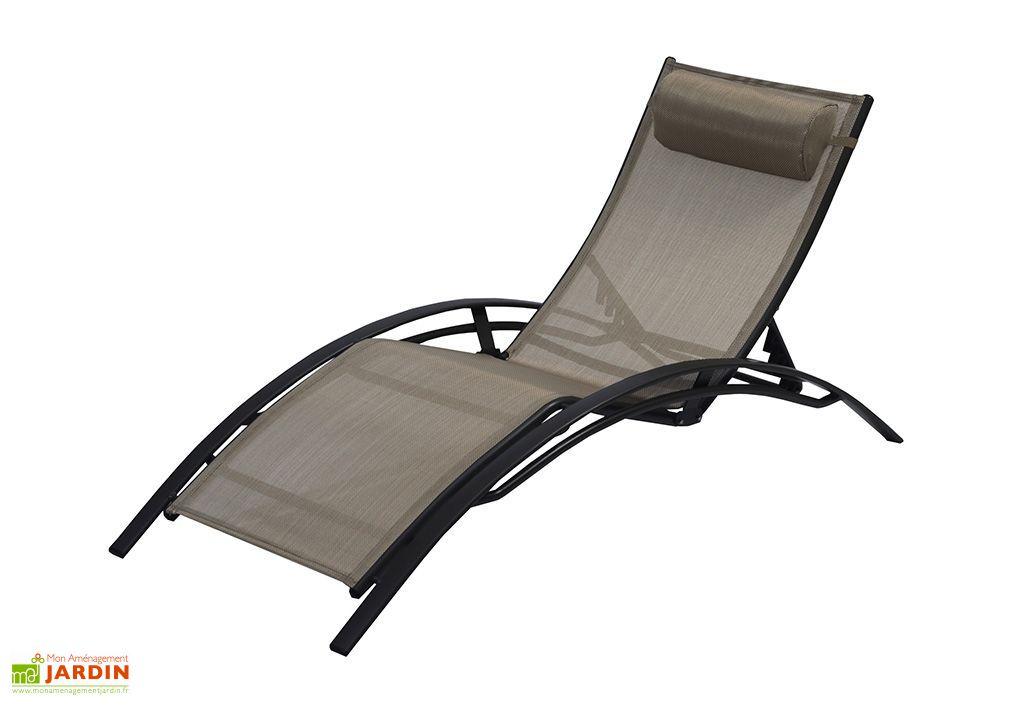 Bain de soleil alu et textil ne sunlight caf dcb garden - Bain de soleil textilene ...