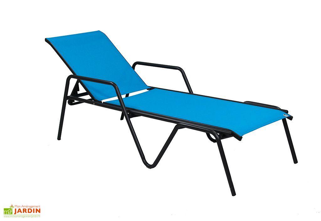 Bain de soleil alu et textil ne zen turquoise dcb garden - Bain de soleil alu textilene ...