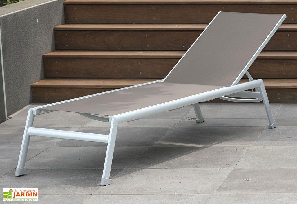 bain de soleil 190 m transat de jardin inclinable en aluminium - Transat Soleil