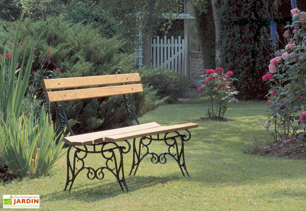 Banc de jardin en fonte et en bois 150 cm lorraine dommartin - Banc de jardin en fonte ...