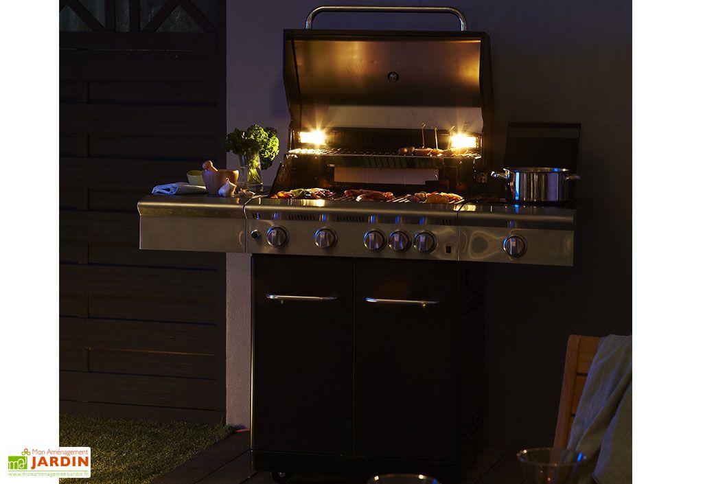 Barbecue Gaz Américain Starlight Noir 4 Brûleurs + Réchaud Latéral