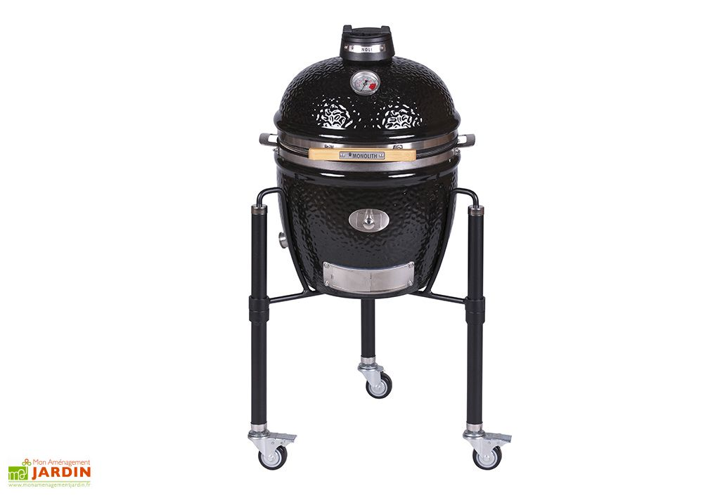 Barbecue kamado en céramique avec chariot Fargau Monolith Junior noir