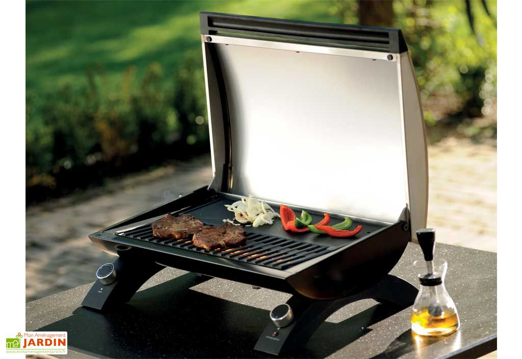 Barbecue electrique e grill 1500 w grandhall barbecue - Barbecue electrique sur pied avec couvercle ...