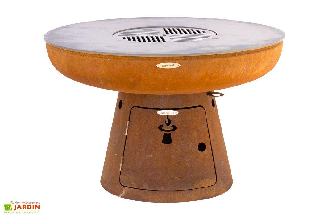 Braséro en acier fabrication artisanale avec plaque de cuisson inox