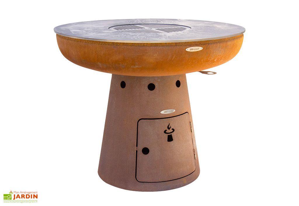 Braséro en acier fabrication artisanale  Ø102 cm avec plaque cuisson inox