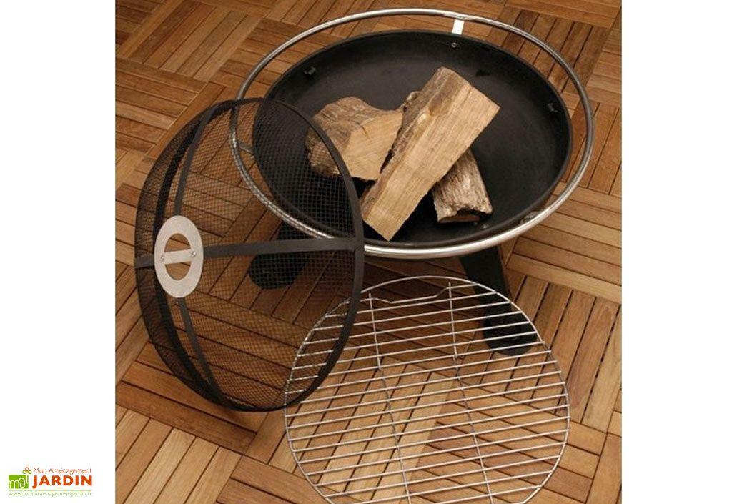 braséro transformable en barbecue bois avec pare-étincelle