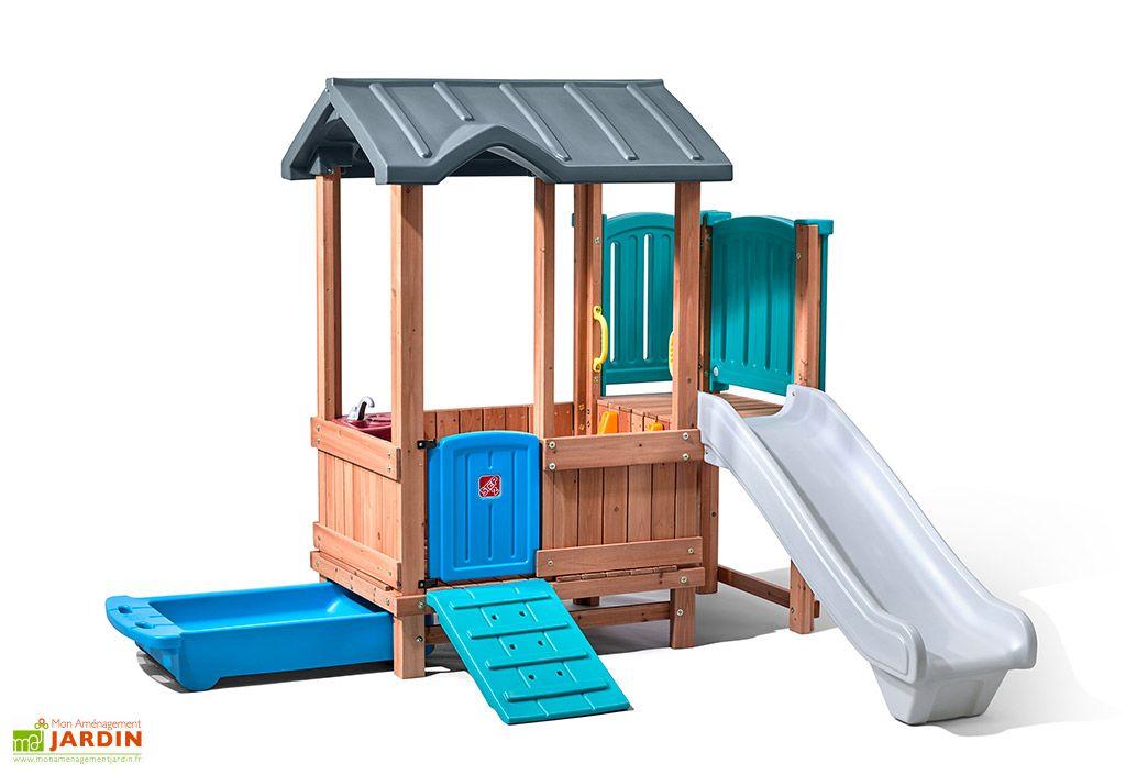 Cabane en bois et plastique avec toboggan Step 2