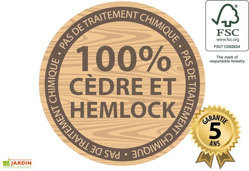 cabane de jardin en cèdre et hemlock FSC garantie 5 ans