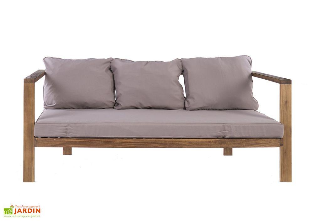 Canapé de jardin en acacia massif Cristy