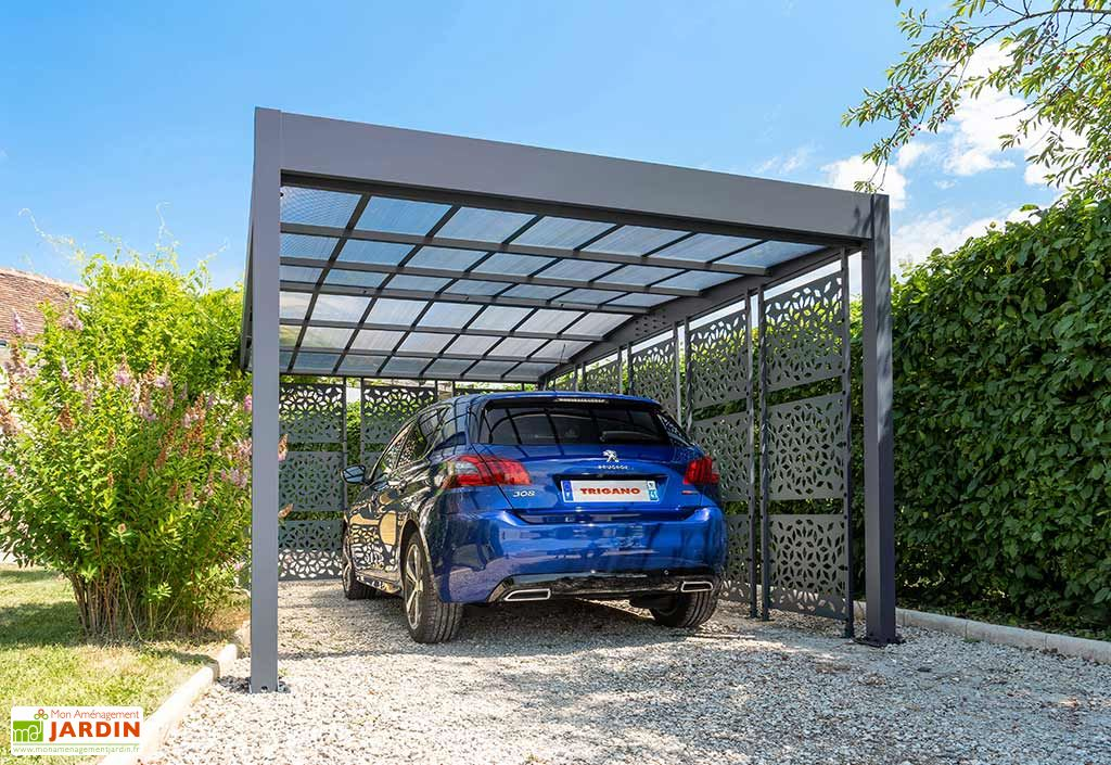 Carport en Aluminium et Polycarbonate 8 Brise-Vues Trigano Libeccio 16 m²