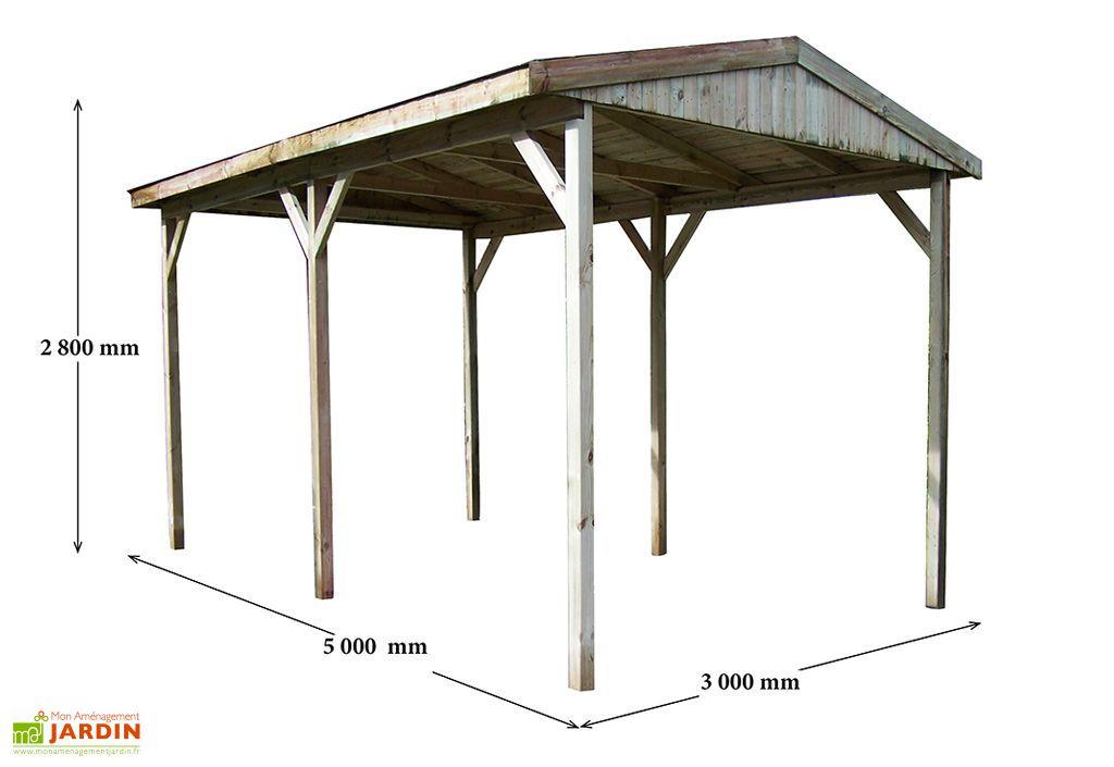 Carport bois autoclave 2 pentes 300x500cm habrita - Carport bois 2 pentes ...