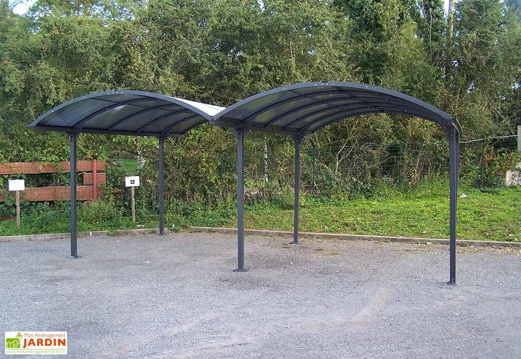 Carport m tal double toit rond en polycarbonate 600x485x250cm l l h car - Prix carport aluminium ...