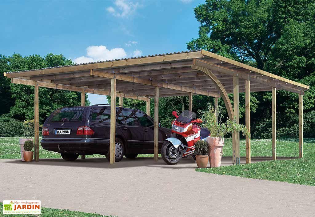 Carport Double en Bois Voiture Moto Karibu Eco 2