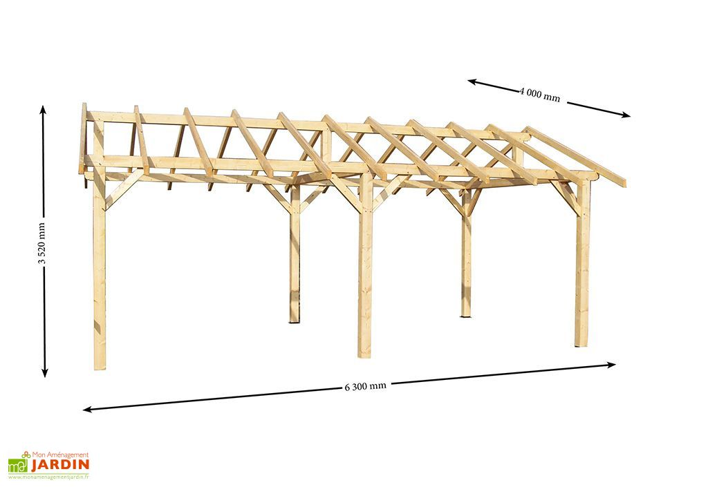 Carport Bois Double Pente 30° 3,5x6m