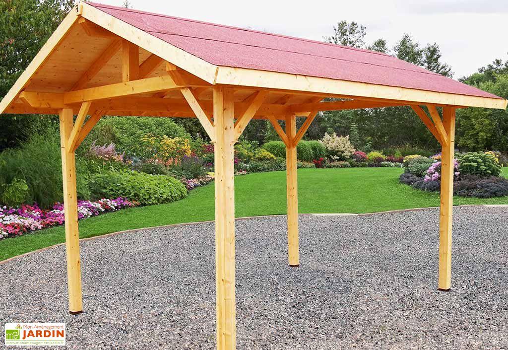 carport bois contrecoll double pente 30 avec feutre bitum 3x4m carport bois double pente 30. Black Bedroom Furniture Sets. Home Design Ideas