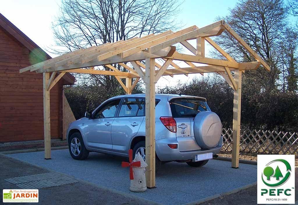 carport bois double pente 30 3x4m habrita. Black Bedroom Furniture Sets. Home Design Ideas